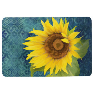 Old Havana Tile Pattern w Sunflower Floral Blue Floor Mat