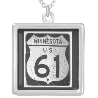 Old Highway 61 Sign Silver Plated Necklace