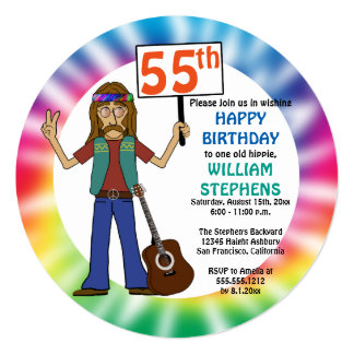 Old Hippie Hippy Tie Dye 55th Birthday Party Card