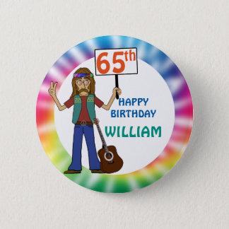 Old Hippie Hippy Tie Dye 65th Birthday Party 6 Cm Round Badge