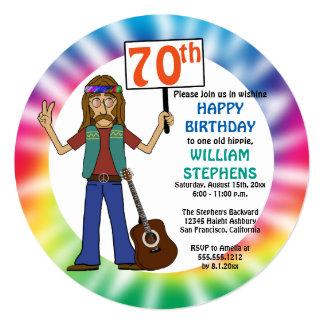 Old Hippie Hippy Tie Dye 70th Birthday Party Card