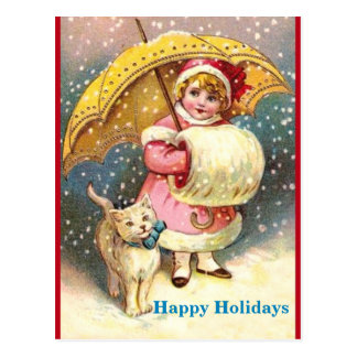 Old Holiday Image Girl, Snow ,Cat ,Yellow Umbrella Postcard