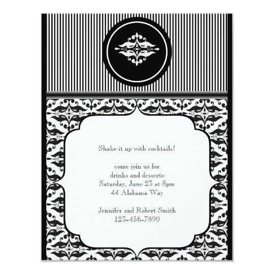 Old Hollywood Damask Party Invitation