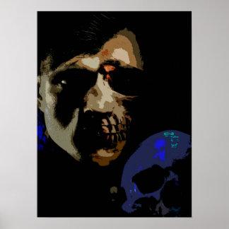 Old Horror vs New Horror Man w Skull Comic Poster