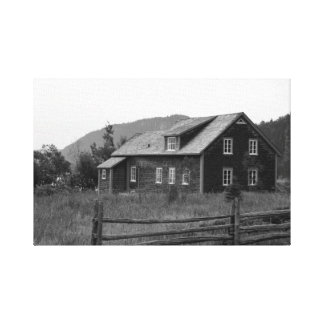 Old house in the prairie by the bay- Black&white Canvas Print
