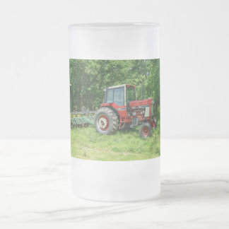 Old International Tractor Frosted Glass Beer Mug