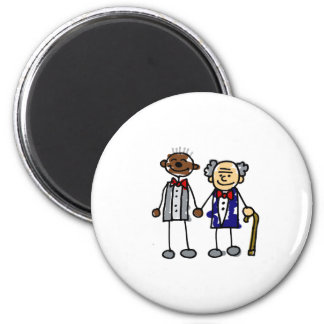 Old Interracial Gay Couple 6 Cm Round Magnet