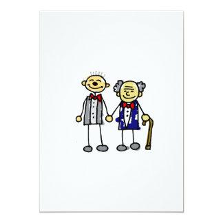 Old Interracial Gay Couple white asian 13 Cm X 18 Cm Invitation Card
