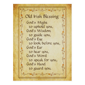Old Irish Blessing, God's Might to Uphold You Postcard