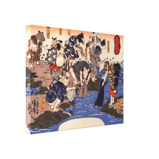 Old Japanese Animals doing Laundry Painting. Japan Gallery Wrapped Canvas