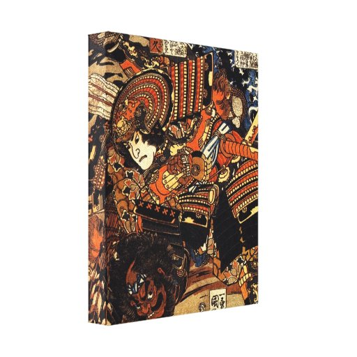 Old Japanese Painting of Samurai Fighting c.1800s Canvas Prints