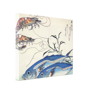 Old Japanese Sea Life Painting Canvas Prints