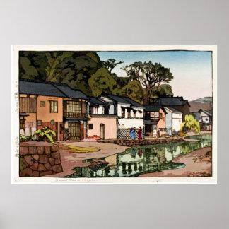 Old Japanese Village Ukiyo–e Poster
