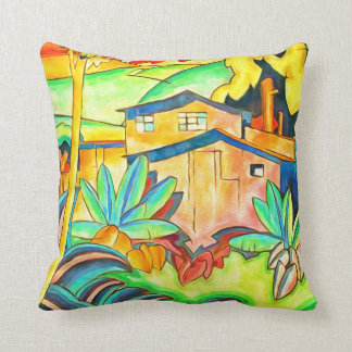 Old Kahala Home Hawaiian Vintage Art Throw Pillow