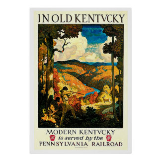 Old Kentucky Vintage Railroad Travel Advertisement Poster