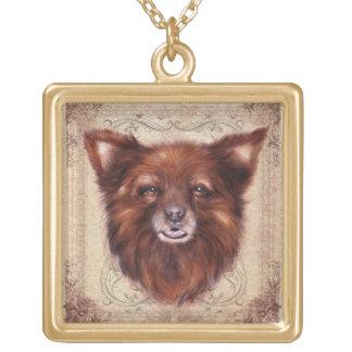 Old Lady Kometka dog animal portrait painting Square Pendant Necklace