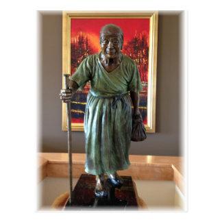 Old lady sculpture postcard