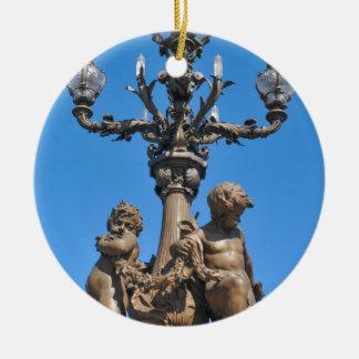 Old lamppost in Paris, France Round Ceramic Decoration