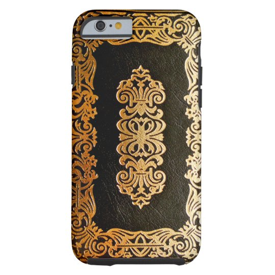 Old Leather Book Iphone Cover : Old leather black gold book cover zazzle