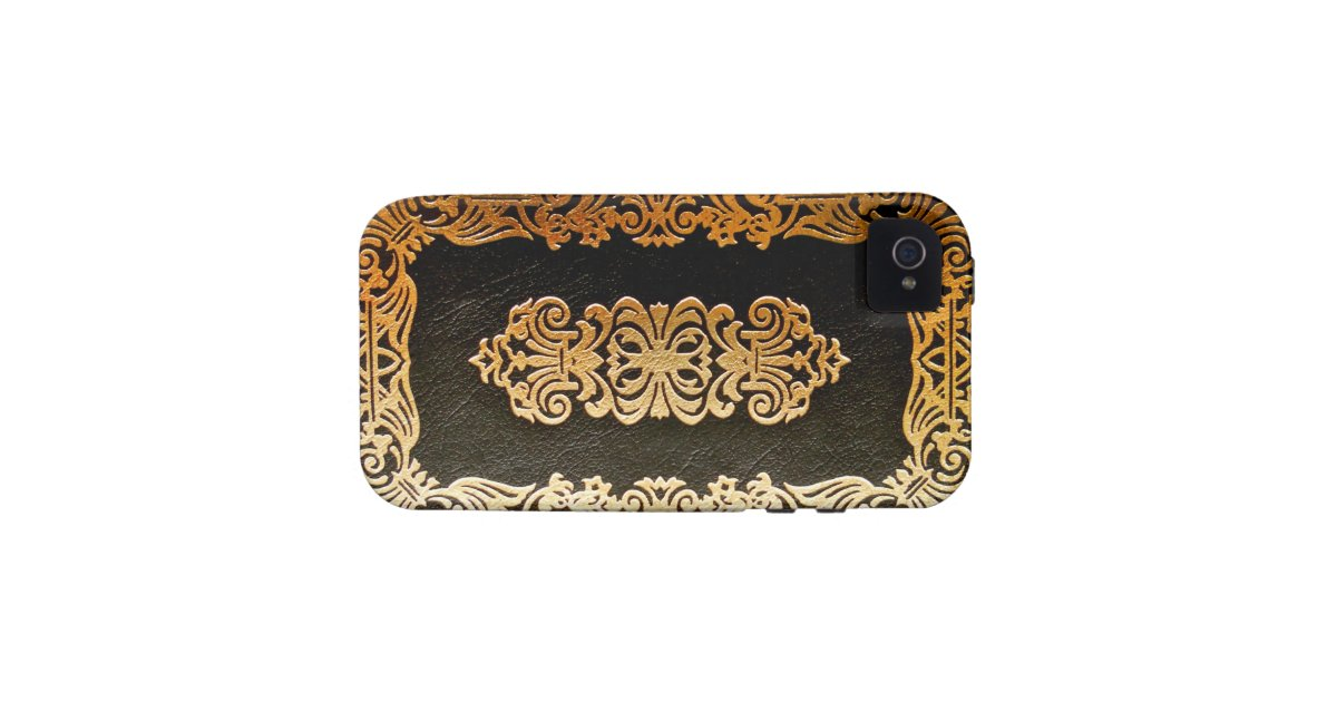 Book Cover Black And Gold : Old leather black gold book cover zazzle
