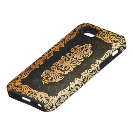 Old Leather Black & Gold Book Cover iPhone 5 Case