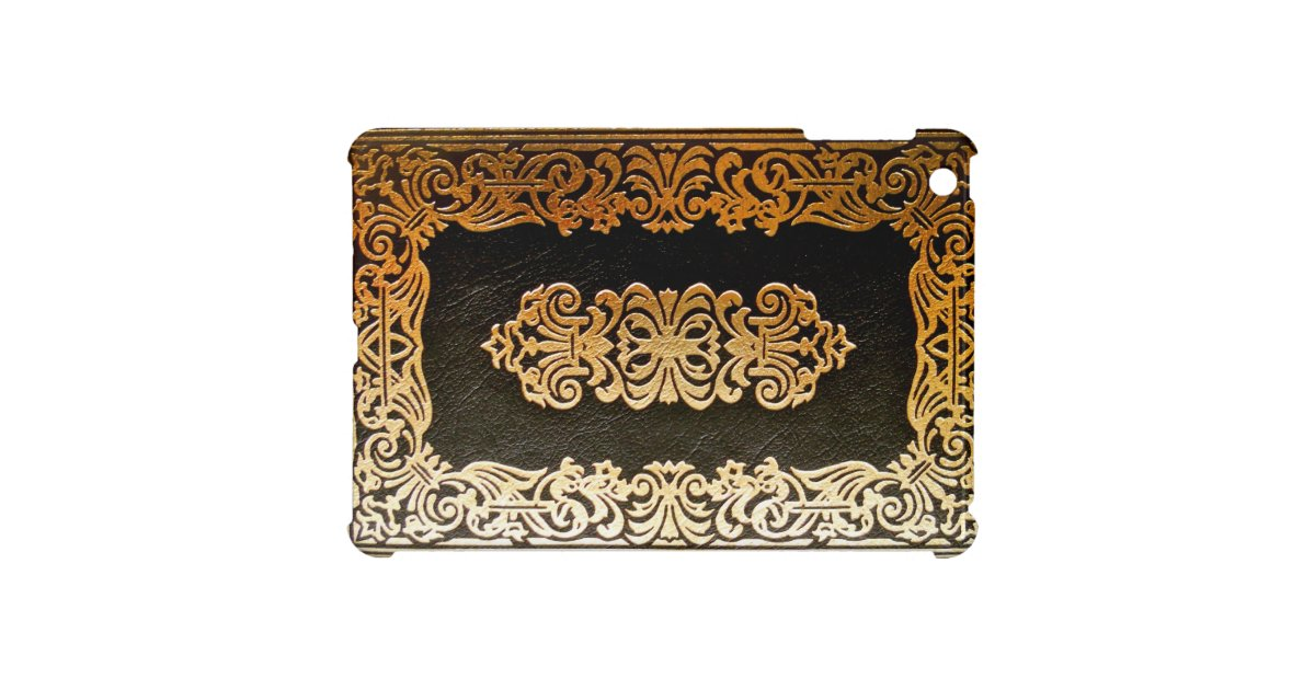 Book Cover Black And Gold ~ Old leather black gold book cover case for the ipad mini