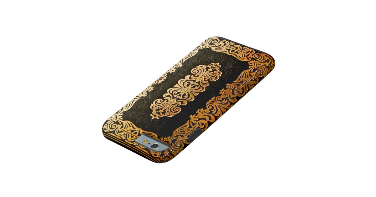 Book Covering Contact Black ~ Old leather black gold book cover tough iphone case