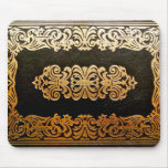 Old Leather Book Cover Black and Gold