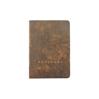 Old leather passport holder