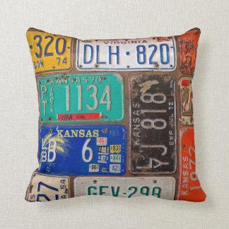 Old License Plates Cushion