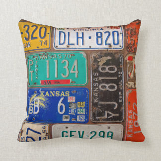 Old License Plates Throw Pillow