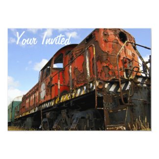 Old Locomotive stands retired and rusted 5x7 Paper Invitation Card