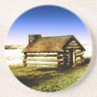Old Log Cabin Coaster