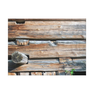 Old Log Wall Gallery Wrapped Canvas
