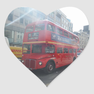 Old  London City Bus Heart Sticker