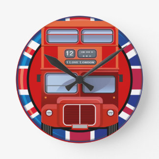 Old London Red Double Decker Bus Wall Clock