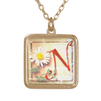 Old look monogrammed gold plated necklace