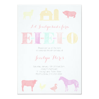 Old MacDonald Birthday Party Invitations, EIEIO Card