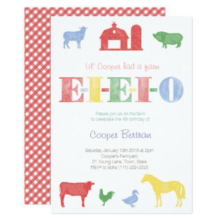 Old MacDonald Birthday, Petting Zoo Party Invites