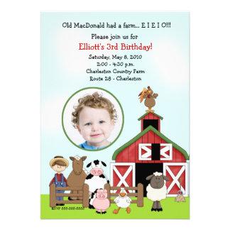 Old MacDonald EIEIO Farm Barnyard Birthday PHOTO Custom Invitations