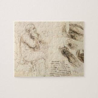 Old Man and Water Sketch by Leonardo da Vinci Jigsaw Puzzle