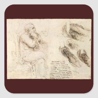 Old Man and Water Sketch by Leonardo da Vinci Stickers