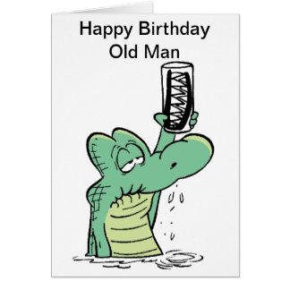 Old Man Croc Birthday Card