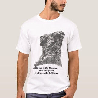 Old Man in the Mountain - New Hampshire - Pen Sket T-Shirt