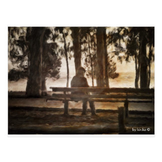 Old man on a bench postcard