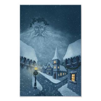 old man winter holiday photo print