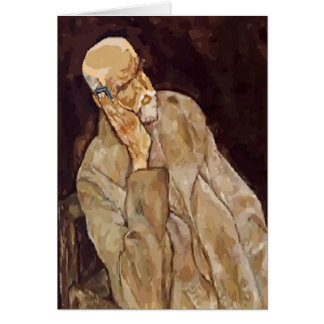 Old Man With Cell Phone Abstract Matisse Style, Card