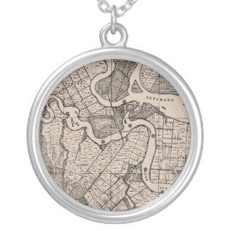 Old Map, Altamaha River, Georgia, USA - Brown Round Pendant Necklace