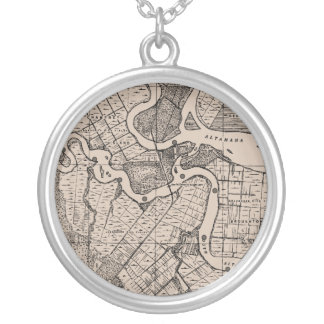 Old Map, Altamaha River, Georgia, USA - Brown Silver Plated Necklace