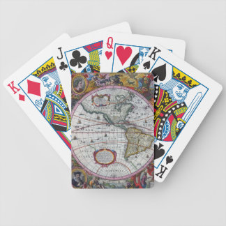 old map Americas Bicycle Playing Cards